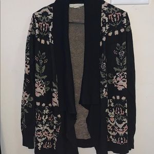 Open Front Knit Cardigan With Vintage Design